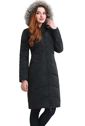 BGSD Women's Bonnie Water Resistant Hooded Long Down Coat - Steel Gray XL