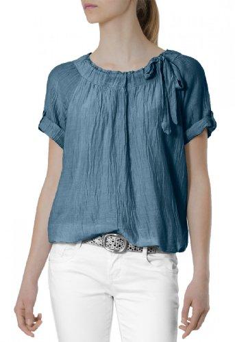 CASPAR Damen leichte unifarbene Kurzarm Seiden Sommerbluse mit Schleife - viele Farben - BLU002, Farbe:blau
