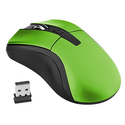 Theo&Cleo Green 2.4G 800/1600 dpi Wireless Optical Comfort Mouse With USB Nano Receiver Designed for Web Scrolling