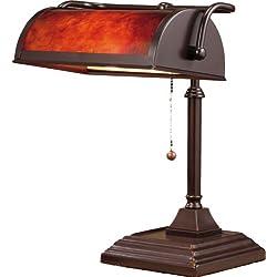 "Normande Lighting BL1-103 60-Watt Banker's Lamp with Plastic Shade, 14"" x 12"" x 10.5"", Dark Coffee"