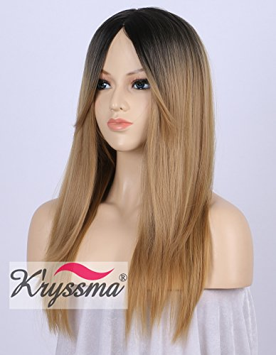 (K'ryssma Fashion Ombre Blonde Synthetic Wigs for Women 2 Tone Color Dark Roots Middle Part Long Natural Looking Straight Heat Resistant blonde)