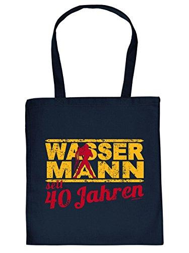 Geschenkidee zum 40. Geburtstag: Sternzeichen Unisex Jutetasche/ Einkaufstasche/ Stoffbeutel/ Wassermann seit 40 Jahren