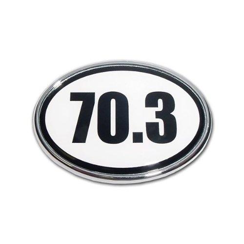 "Half Ironman ""70.3"" Premier Metal Auto Emblem - White Oval Shape"
