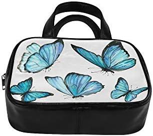 Sac à main fourre-tout Nature aquarelle bleu papillon mouche gratuit mignon femme sacs sacs à main inhabituels Pu cuir poignée supérieure sacoche sac à main femmes