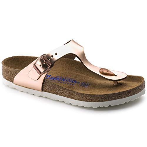 Birkenstock Women's Gizeh SFB Leather Buckle Sandal Metallic - Copper Metallic Leather