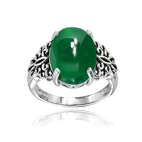 Sterling Silver Simulated Green Agate Oxidized Bali Inspired Filigree Oval Ring, Size ()