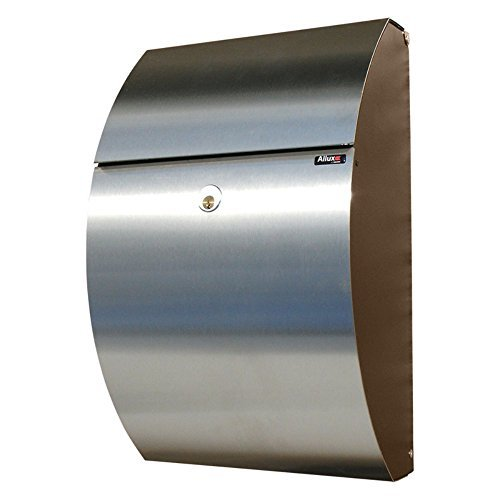 (Qualarc ALX-7000-BS Allux Series  Wall or Post Mount Stainless Steel Mailbox In Black/Stainless Color)
