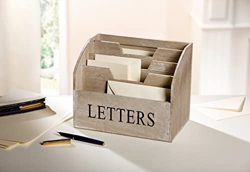 "Briefbox""Letters"" aus Holz, grau, 4 Fächer, Post Organizer"