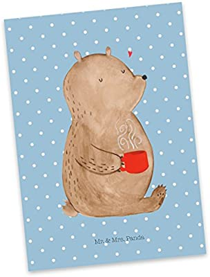 Panda Gru/ßkarte Postkarte Papa B/är mit Spruch Farbe Blau Pastell Ansichtskarte Mr /& Mrs