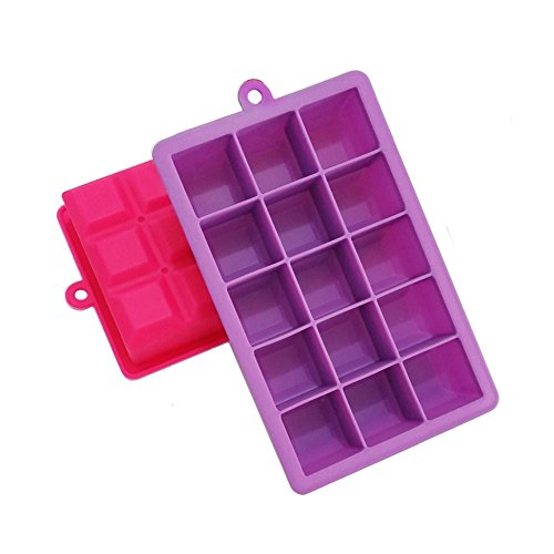 Daixers Silicone Ice Cube Tray Molds,15-Cube Trays,Pack of 2 (Pink & (Cotton Candy Ballerina)