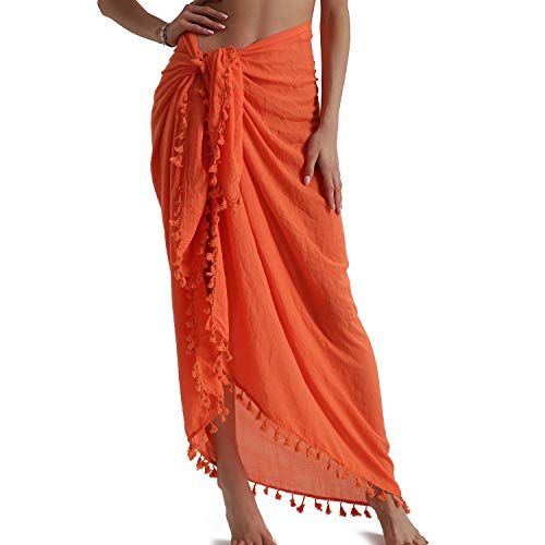 Eicolorte Beach Sarong Pareo for Women Swim Bathing Suit Bikini Cover Ups Wrap Skirt (Orange-Long)