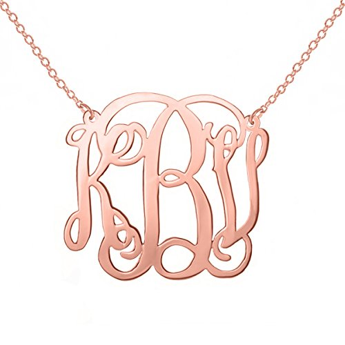 Silver Monogram Necklace Pendants Custom Made with Any Initials (Monogram Necklace Rose Gold) ()
