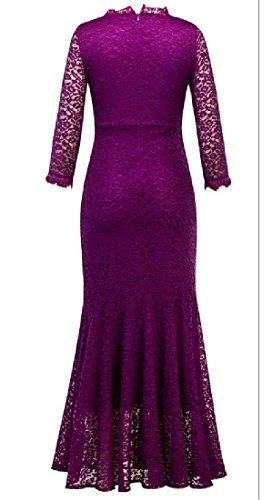 Casual Dress Party Sexy Evening Lace Comfy Purple Long Fitted Women Swing 4zwxxt8C
