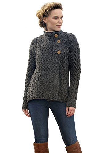 Aran Woollen Mills Asymmetrical Irish Multi Cable Wool Cardigan (Slate Grey, XLarge) ()