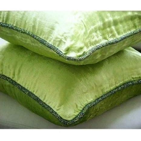 Green Lime - Decorativa Funda de Cojin 30 x 30 cm, Square Verde Lima Terciopelo Frontera de Cuentas Hecho A Mano