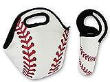 Baseball Softball Zipper Cooler Lunch Bag Insulated Gifts Washable Neoprene with Water Bottle Holder (Baseball Bundle)