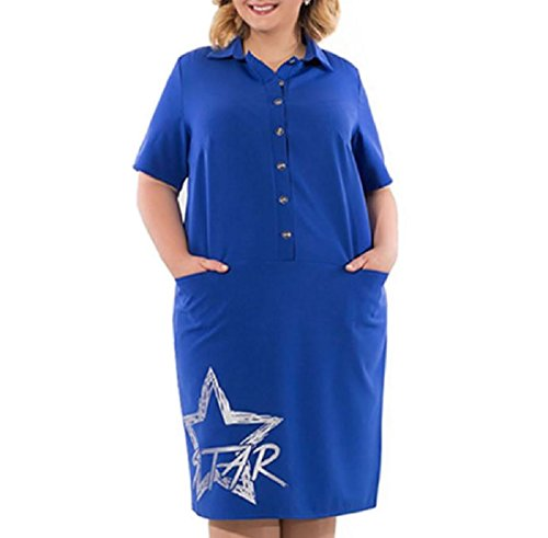 Women Blue Pattern Letter Print Down Plus Button Size Star Dresses Coolred dYnv4d