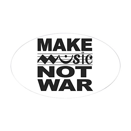 CafePress - Make Music Not War Oval Sticker - Oval Bumper Sticker, Euro Oval Car Decal