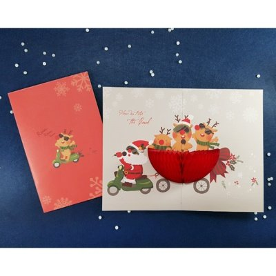 Handmade Honeycomb Pop Up Christmas Greeting Card (Pack of 1, SCOOTER SANTA) (Personalised Christmas Photo Cards)
