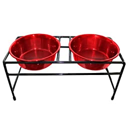 Platinum Pets Modern Double Diner Feeder with Two 1-Pint Heavy Bowls, Red