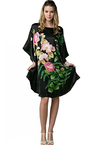 Pennello Cinese Con Crepe Camicia Seta Nero 100 Pigiama a da Dipinto Lingerie Prettystern Pittura a Kimono Ybs101 Mano Notte 7xq4z5O