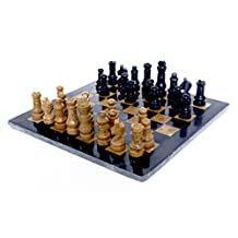 RADICALn Handmade Black and Golden Marble Full Chess Game Original Marble Chess Set