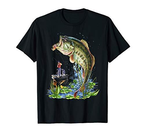 Fishing Graphic T-Shirt Large Mouth Bass Fish Gift ()