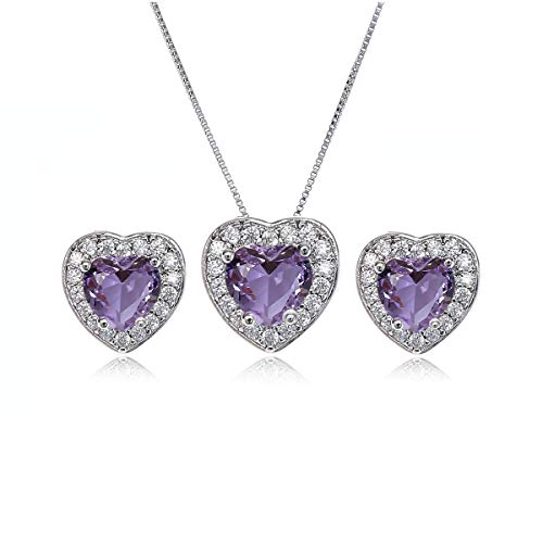 AMYJANE Crystal Jewelry Set for Women - Sterling Silver Small Heart Shaped Amethyst Purple Cubic Zirconia February Birthstone Elegant Bridal Pendant Necklace Dangle Earrings Set for ()