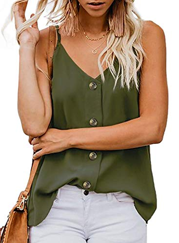Sousuoty Casual Womens Summer Flowy Cami Tops Deep V Neck Strappy Shirts Army S