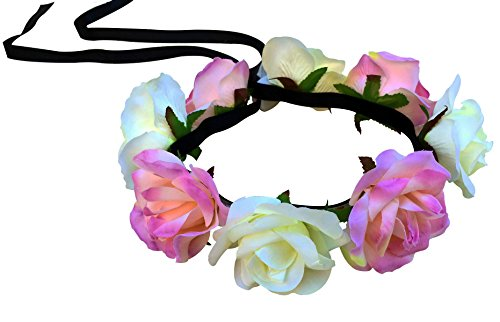 Light Yellow and Pink Rose Flower Crown with LED Lights