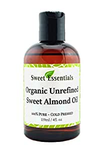 100% Pure Certified Organic Unrefined Sweet Almond Oil - 4oz - Imported From Italy - Cold Pressed & Hexane Free - Natural Moisturizer - Great For Hair, Skin & Nails - By Sweet Essentials