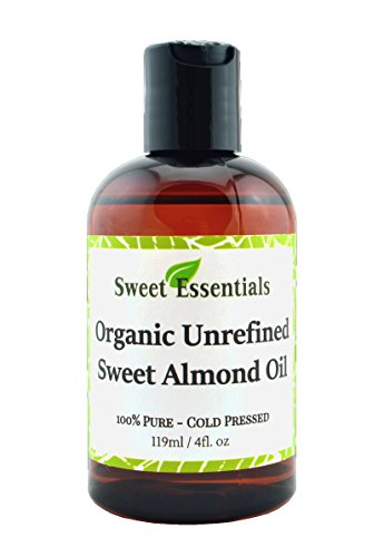 Organic Unrefined Sweet Almond Oil | 4oz Imported From Italy | 100% Pure | Cold Pressed | Hexane Free | Natural Moisturizer |Great For Hair, Skin & Nails | Carrier Oil | Great To Dilute Essential Oils