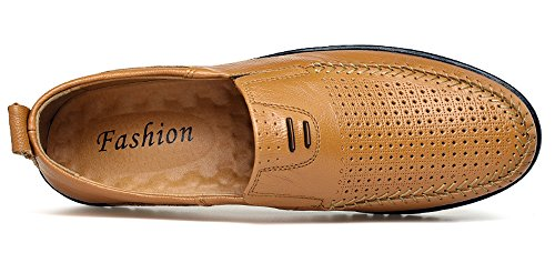 Sanyge Men's Slip Driving hole58 on Leather Moccasin Shoes Loafers Y brown Casual Shoes RwRxrd0tAq