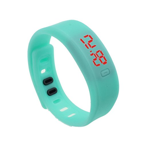 Kingfansion Mens Womens Rubber LED Watch Date Sports Bracelet Digital Wrist Watch (Sky Blue)