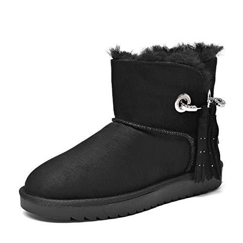 BYUYAN Stiefel Das Mädchen Stiefel niedrig mit abgerundeten Rubber Anti-rutsch Boden Winter Dekorativer Student Snow Stiefel