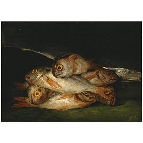Francisco de Goya Still Life with Golden Bream HD Picture Posters e impresiones pintura al oleo para la sala de estar Decoracion del hogar Impresion de regalo en lienzo -60x90cm Sin marco