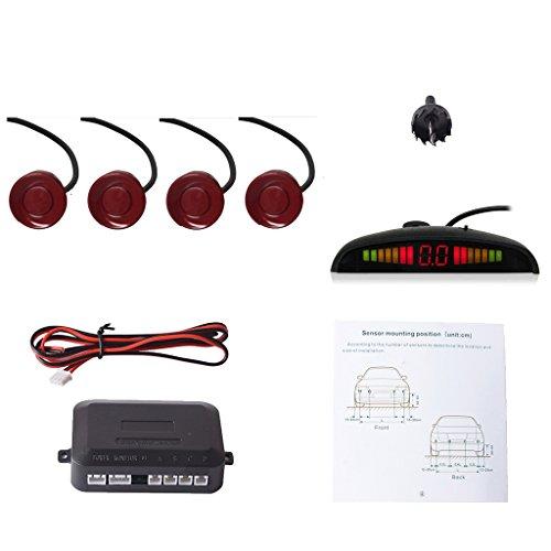 Cocar Rouge Foncé Voiture Radar de Recul LED Parking Beep & park Assist Système avec Distance Affichage Rétro Aide au Parcage + 4 Capteurs