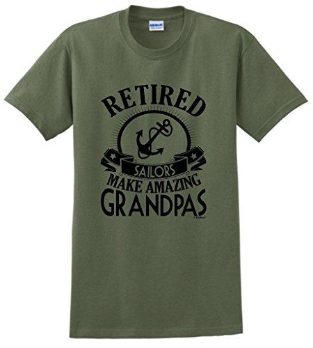 Retirement Grandpa Gift Retired Sailor T-Shirt Large MlGrn