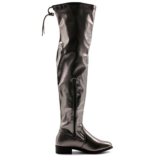 Drawstring Over Pewter Shoe Up Knee Long Faux or Suede Zip PU Faux Boots Stretch Metalic Ollio Leather Women the RFwxRp