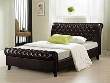 Richmond Brown 5ft King Size Sleigh Leather Bed Frame Amazoncouk