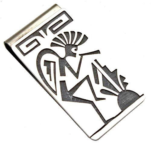 (Hopi Sterling Silver Money Clip Featuring Kokopelli, Prayer Feathers and Clouds-rain... )