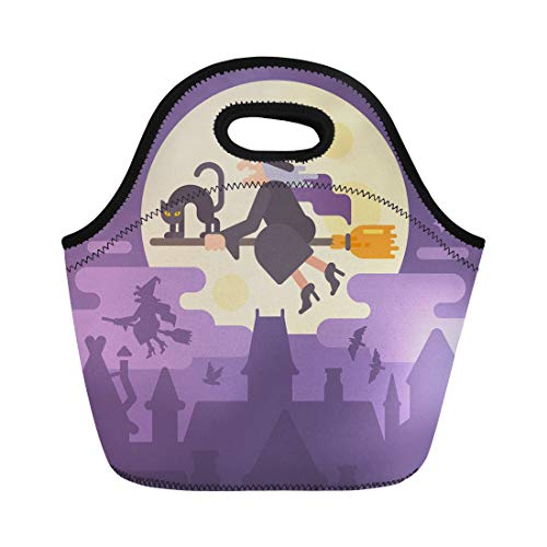 Semtomn Lunch Tote Bag Old Witch Flying on Broom Black Cat Over the Reusable Neoprene Insulated Thermal Outdoor Picnic Lunchbox for Men Women