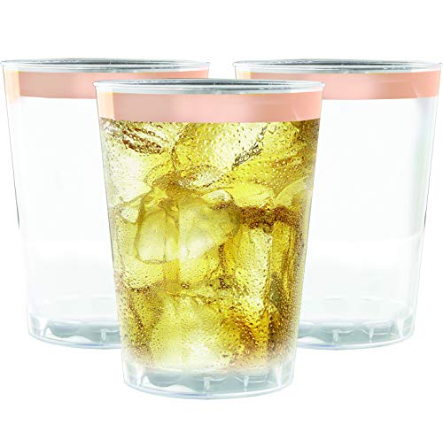 100 Rose Gold Rimmed Plastic Cups, 12 oz - Clear with Rose Gold Rim Disposable Cup Set for Wedding or Party
