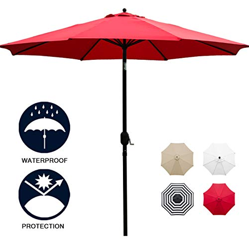 Sunnyglade 11Ft Patio Umbrella Garden Canopy Outdoor Table Market Umbrella with Tilt and Crank (Red)