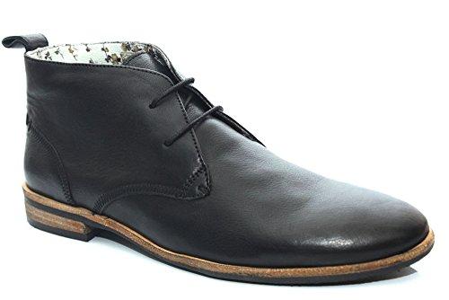 G0935A Bottines style chukka en cuir - lacets - homme - noir