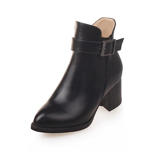 A&N Ladies Romanesque Style Buckle Fashion Cone-Shape Heel Imitated Leather Boots Black Hc8mia7