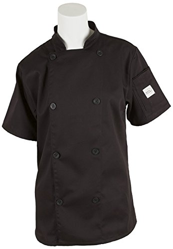 Mercer Culinary M61032BKXS Genesis Women's Short Sleeve Chef Jacket with Traditional Buttons, X-Small, (Ladies Traditional Chefs Jacket)