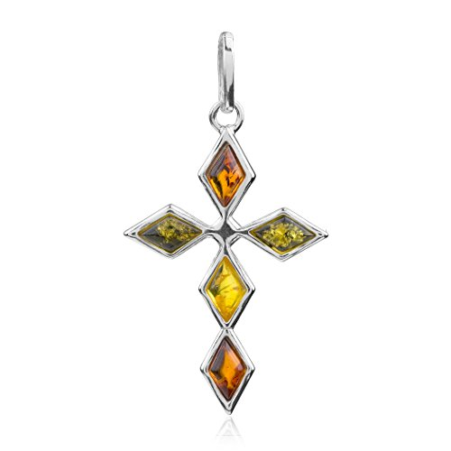 Multicolor Amber Sterling Silver Cross Pendant Amber Designer Cross