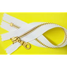 """ZipperStop Wholesale Authorized Distributor YKK®Sale 9"""" Brass Finished (Special Custom) YKK Zipper Number 5 with Donut Pull Slider Closed Bottom Color White (1 Zipper/pack)"""