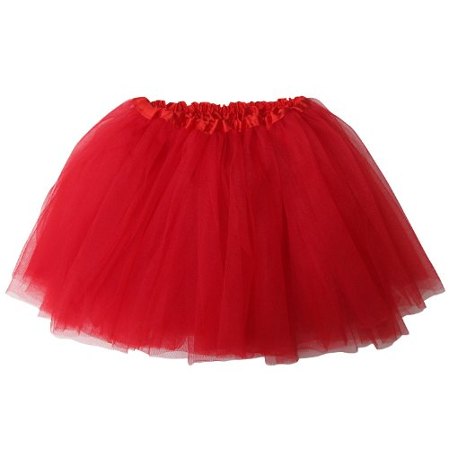 [Ballerina Basic Girls Dance Dress-Up Princess Fairy Costume Dance Recital Tutu (Red)] (Red Tutu Kids)